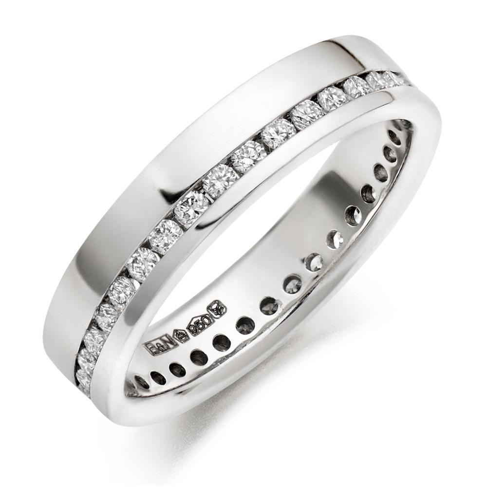 Ideal WEDDING RINGS :: G Si Round Brilliant Diamonds in Platinum Wedding  ST28