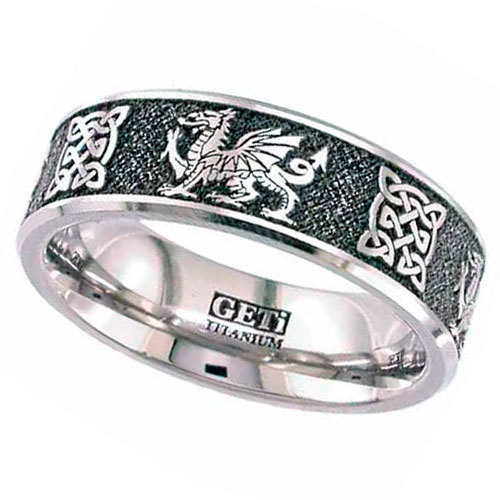 Wedding Rings Gentleman S Titanium Celtic Wedding Ring Dragon