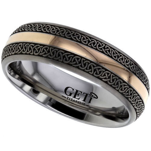 New Celtic Knot Wedding Rings Anium 18ct Rose Gold Inlay