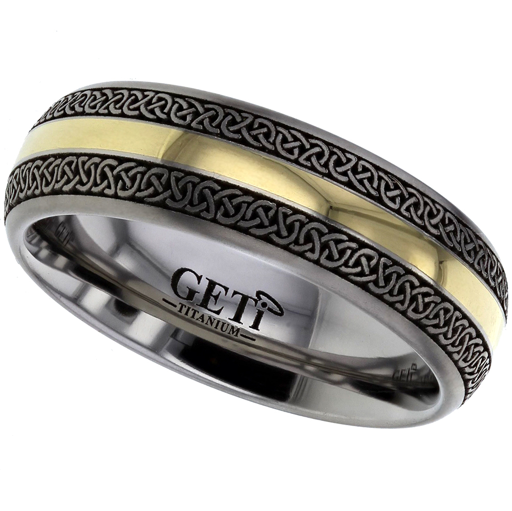 NEW   Celtic Knot Wedding Rings Titanium U0026 18ct Yellow Gold Inlay